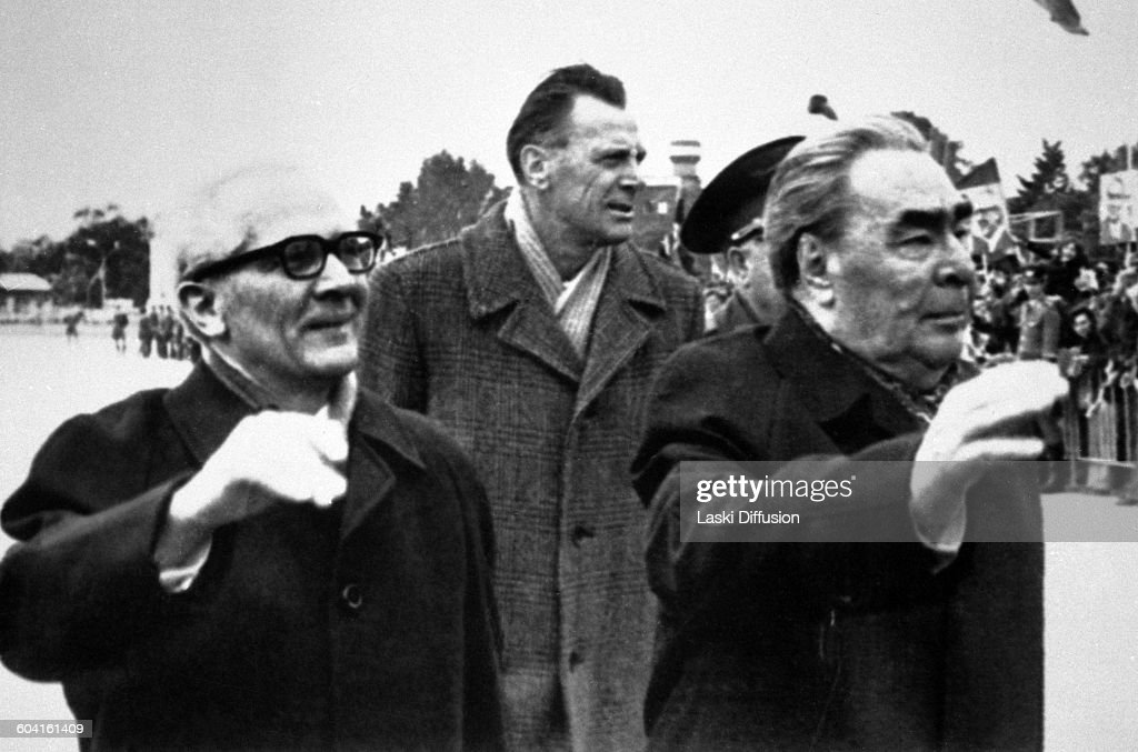 Celebrations of <a gi-track='captionPersonalityLinkClicked' href=/galleries/search?phrase=Leonid+Brezhnev&family=editorial&specificpeople=93686 ng-click='$event.stopPropagation()'>Leonid Brezhnev</a>'s 75th birthday in Moscow, USSR, on 19th December 1981. Pictured: leader of East Germany <a gi-track='captionPersonalityLinkClicked' href=/galleries/search?phrase=Erich+Honecker&family=editorial&specificpeople=209084 ng-click='$event.stopPropagation()'>Erich Honecker</a>, leader of the Soviet Union <a gi-track='captionPersonalityLinkClicked' href=/galleries/search?phrase=Leonid+Brezhnev&family=editorial&specificpeople=93686 ng-click='$event.stopPropagation()'>Leonid Brezhnev</a> (first from the right).
