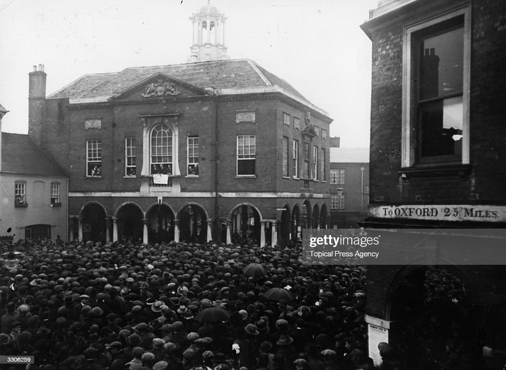 Crowds gather for the declaring of the Poll at the Old Guildhall during the South Bucks Bye Election at High Wycombe
