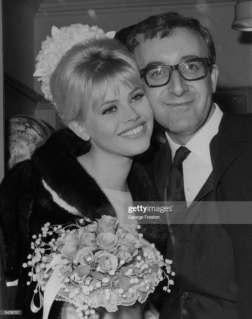Film star and radio star Peter Sellers (1925 - 1980) with his film actress bride Britt Ekland (Britt-Marie Eklund) after their marriage at Guildford Registry Office.