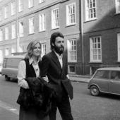 Paul McCartney and his wife Linda during a lunchtime adjournment of the case which he is bringing against the other members of the Beatles group and...