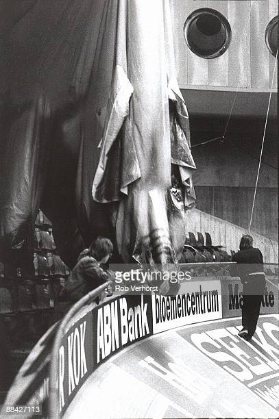 Pink Floyd's Pig deflated on stage at Ahoy in Rotterdam Netherlands during the Wish you were here / Animals tour on 19th February 1977