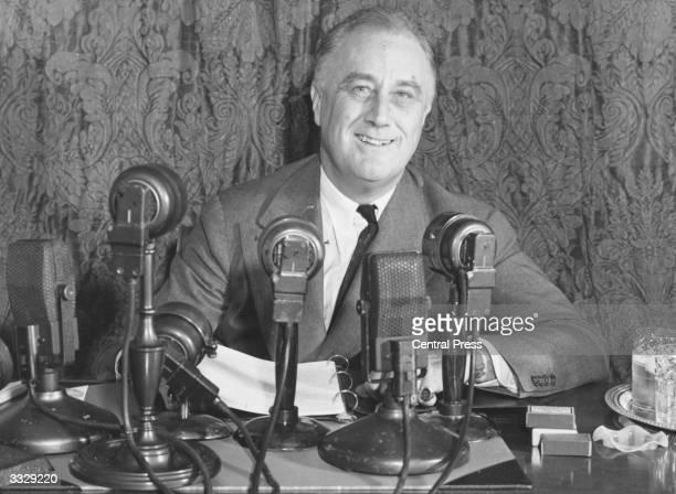 United States president Franklin Delano Roosevelt addressing a press conference