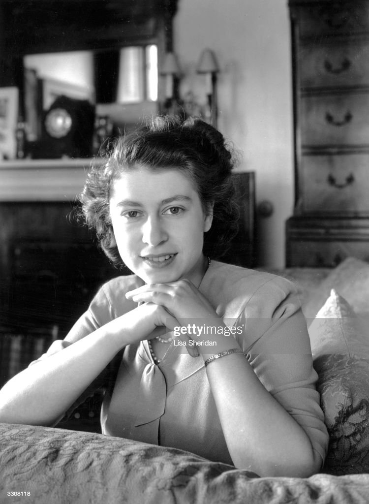 Princess Elizabeth in her lounge at Buckingham Palace.