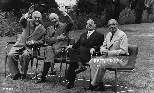 In the garden of the Palace of Nations are the 'Big Four' from left Soviet premier Marshal Nikolai Bulganin former General and 34th President of the...