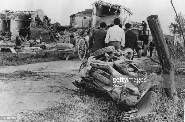 Wrecked houses and cars in the aftermath of a Tornado in the village of Passo Valle Scuro Italy