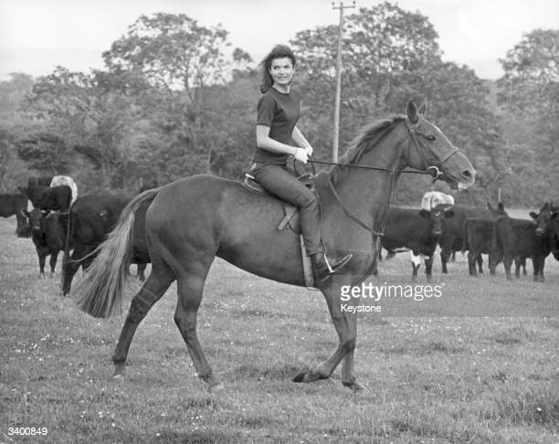 Jacqueline Kennedy riding a horse at Woodstown near Waterford