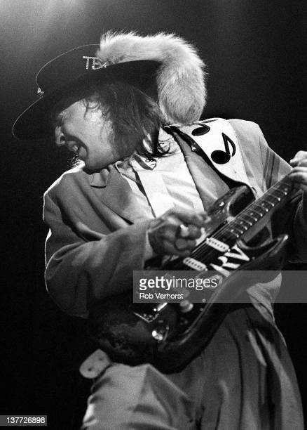 American singer and rock guitarist Stevie Ray Vaughan performs live on stage at Ahoy in Rotterdam Netherlands on 19th June 1988