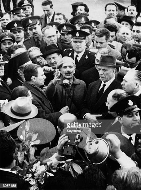 Colonel George Grivas leader of EOKA He is in Athens to receive a hero's welcome after his four years of fighting the British