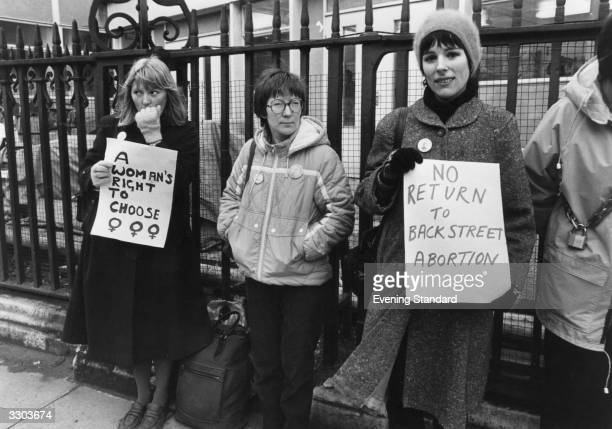 Women outside the House of Commons campaigning for their rights to legal abortions