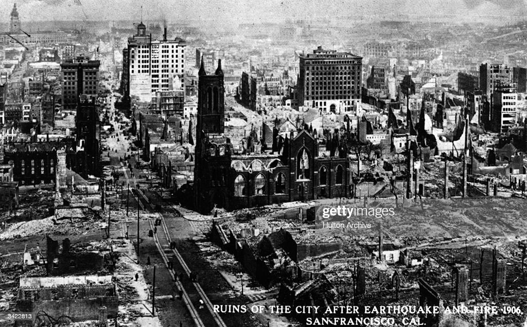 The ruins of San Francisco after the terrible earthquake and fire A view east down California Street with St Mary's Church on the left and Grace...
