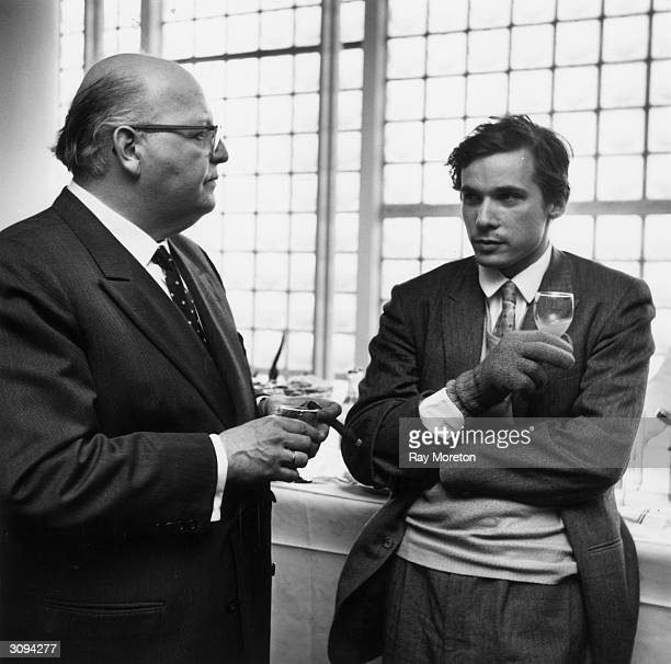 Canadian pianist Glenn Gould with Austrian conductor Josef Krips during a rehearsal break at the Royal Festival Hall