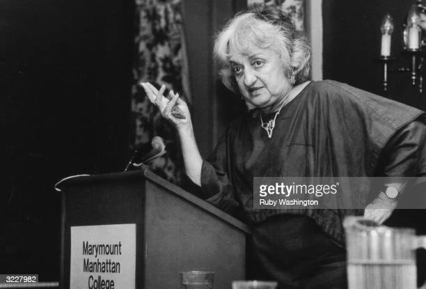 American author and feminist leader Betty Friedan speaks to the National Association of Young Professional Women Marymount Manhattan College New York...