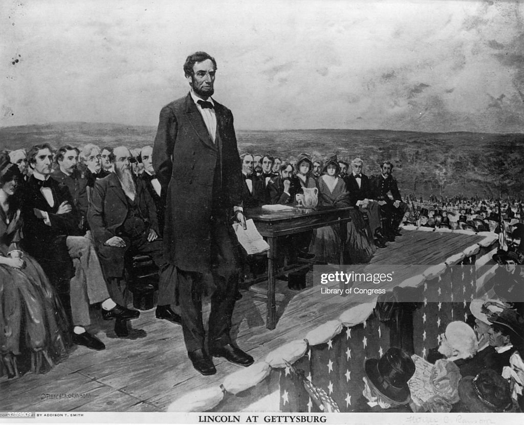 Abraham Lincoln, the 16th President of the United States of America, making his famous 'Gettysburg Address' speech at the dedication of the Gettysburg National Cemetery during the American Civil War. Original Artwork: Painting by Fletcher C Ransom