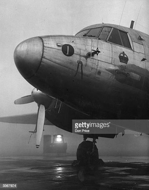 The King's Flight Viking aircraft stranded at London Airport due to thick fog forcing Princess Elizabeth to postpone her meeting her husband the Duke...