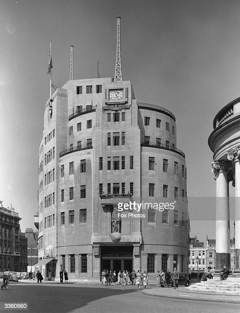 The headquarters of the British Broadcasting Corporation at Broadcating House in London from the south front