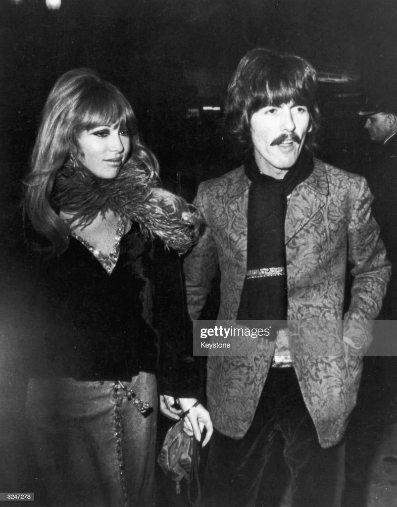 <a gi-track='captionPersonalityLinkClicked' href=/galleries/search?phrase=George+Harrison&family=editorial&specificpeople=90945 ng-click='$event.stopPropagation()'>George Harrison</a> and his wife Patti Boyd arriving at the London Pavilion for the premiere of 'How I Won The War' which stars his fellow Beatle John Lennon.