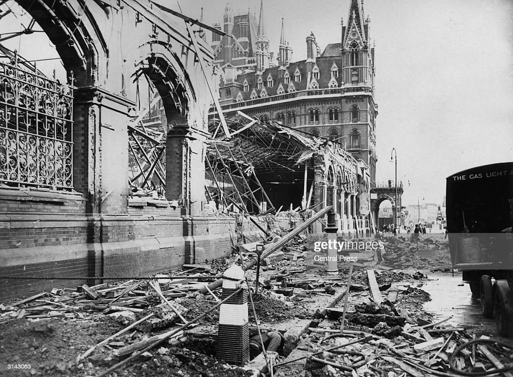 An area near St Pancras Station in London showing the damage caused by a German air raid during the London blitz in World War II