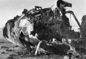 The burnt out wreckage of a VC 10 airliner after a hijacking by terrorists The location is Dawson's Field Jordan