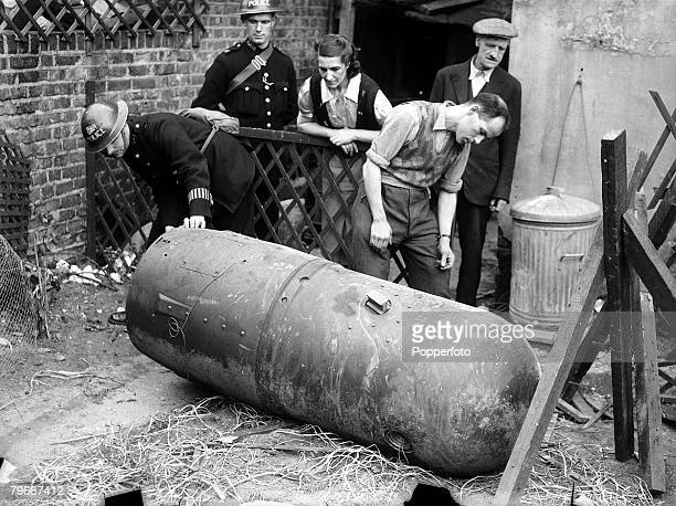 19th September A huge unexploded land mine lies in a back garden of a house in a London suburb they are being dropped by parachute from enemy planes