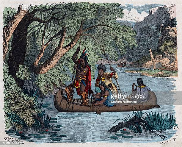 19thCentury Illustration of Native Americans Fishing from a Canoe
