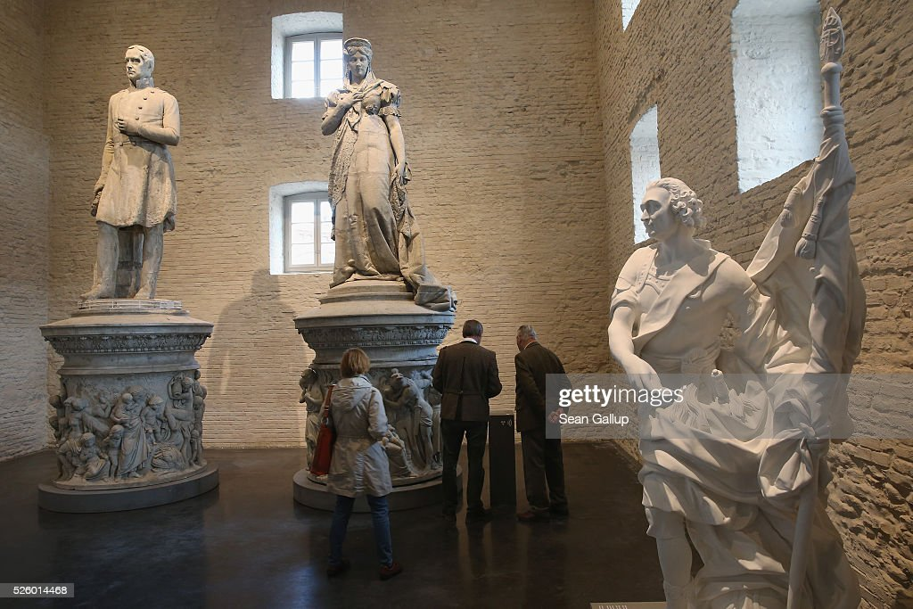 19th-century statues stand on display at the exhibition: 'Uncovered. Berlin and its Monuments' ('Enthuellt. Berlin und seine Denkmaeler') at the Spandau citadel on April 29, 2016 in Berlin, Germany. The statue of Lenin was over 19 meters tall and stood on Lenin Square in communist East Berlin before being removed by authorities after 1989, broken up into pieces and buried in a forest outside Berlin. The exhibition shows about 100 monuments that have been damaged, removed or stored away over the years and together guide visitors through the history of th city. The exhibition will run until October 30.