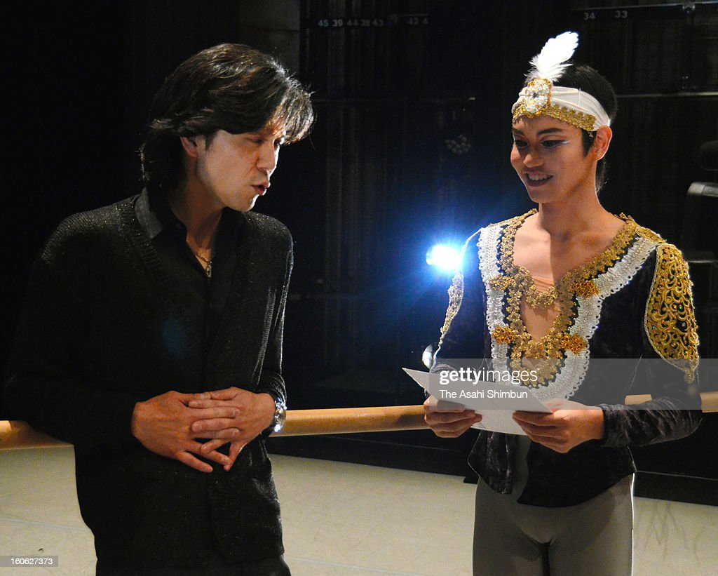 19-year-old Masaya Yamamoto (R) and jury Tetsuya Kumakawa talk after the Prix de Lausanne at Beaulieu Theatre on February 2, 2013 in Lausanne, Switzerland. Yamamoto won 3rd place.