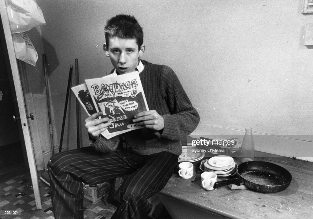 19-year-old Shane MacGowan, editor of punk rock magazine 'Bondage' in his office at St Andrews Chambers, Wells Street, London. He went on to front The Pogues. Original Publication: People Disc - HJ0379