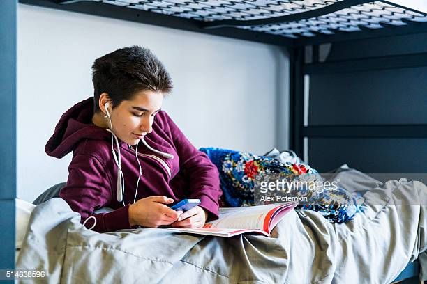 19-years-old student girl in the campus's dormitory  room