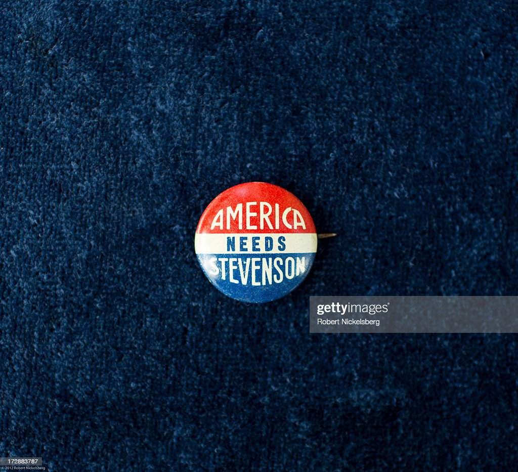 A 1-inch 1956 campaign button of Democratic Party and presidential candidate Adlai Stevenson is seen June 29, 2013 in Dorset, Vermont. Stevenson, from Illinois, was defeated by Republican Dwight D. Eisenhower giving Eisenhower a second term as U.S. president.
