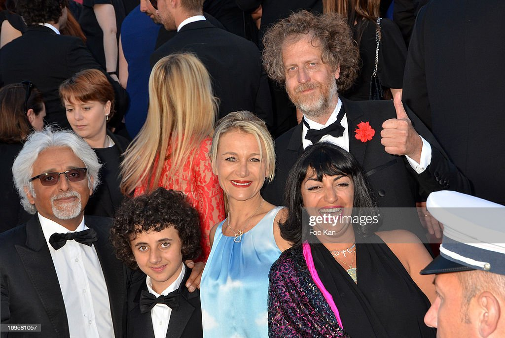 (1rst rank Patrick Partouche (L) and his family 2nd rank Fabrice de Rohan Chabot from Technikart attend the Premiere of 'Zulu' and the Closing Ceremony of The 66th Annual Cannes Film Festival at Palais des Festivals on May 26, 2013 in Cannes, France.