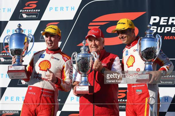 1sdt place Scott McLaughlin driver of the Shell VPower Racing Team Ford Falcon FGX Roger Penske team owner of DJR Team Penske and 2nd place Scott...