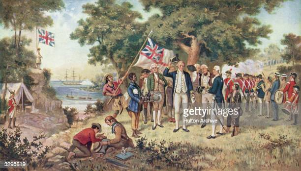 A print from a painting showing Captain James Cook taking possession of New South Wales taken from the collection of the Philosophical Institute of...