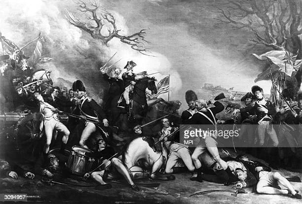 General George Washington surprises and defeats British forces at in Princeton New Jersey during the American Revolution Original Artwork Painted by...