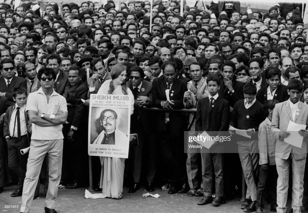 A crowd of protestors at a rally at Trafalgar Square London calling for an end to genocide in Bangladesh and the recognition of the independent...