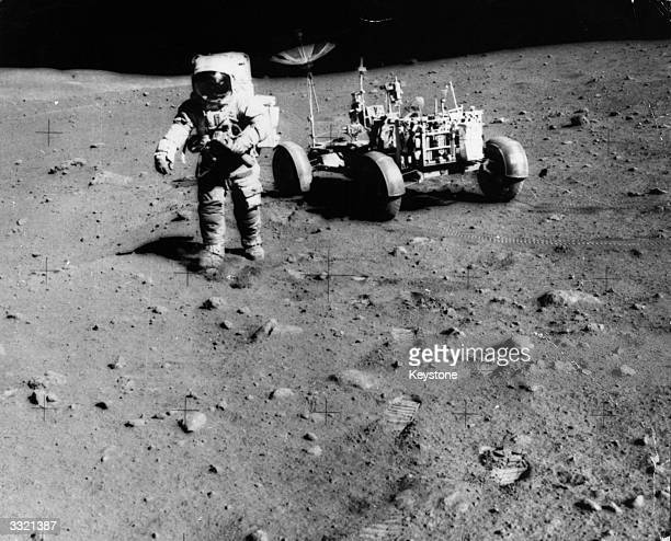Apollo 15 astronaut James Irwin exploring the moon