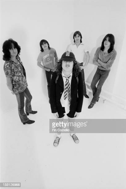Australian rock band AC/DC posed in a studio in London in August 1979 Left to right Bon Scott Malcolm Young Angus Young Phil Rudd and Cliff Williams