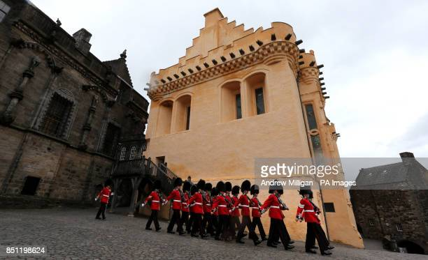 1st Battalion Scots Guards march through Stirling Castle as they provide both Castle Guards as Gunners from the 105th Regimental Royal Artillery...