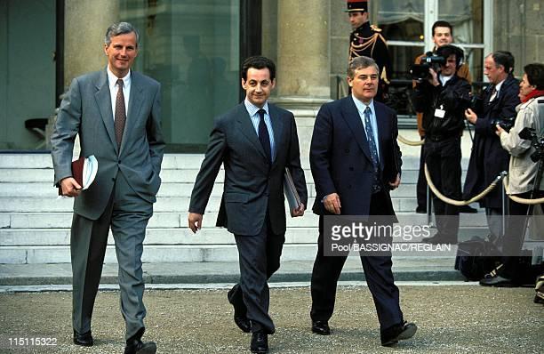 1st Council of ministers of EBalladur's government in Paris France on April 02 1993 Michel Barnier Nicolas Sarkozy Pascal Clement