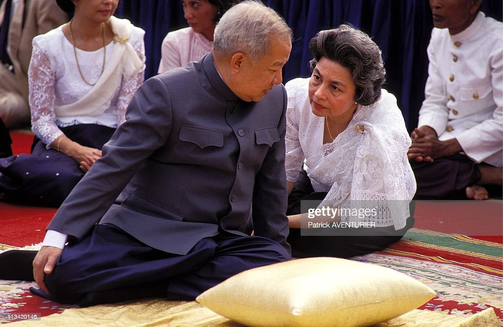 1st Day Of N - Sihanouk In Phnom Penh In The Aftermath Of His Arrival;On November15th 1991 - Sihanouk With Monineath On November 15th, 1991 In Phnom Penh, Cambodia
