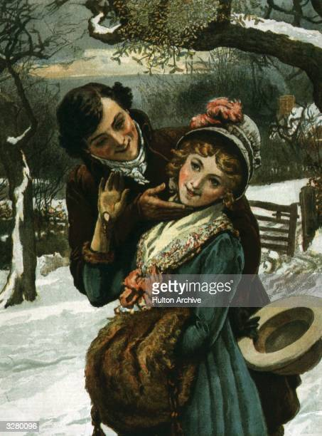 A man tries to kiss a shy young woman under a sprig of mistletoe Original Publication The Graphic Christmas Supplement pub 1887