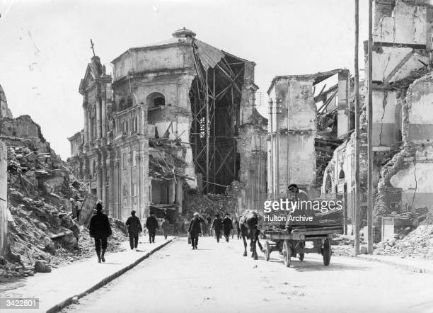 The ruins of a church following the earthquake at Messina