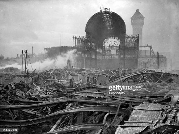 1st December 1936 The Crystal Palace one of Londons great landmarks the morning after it was totally destroyed by fire