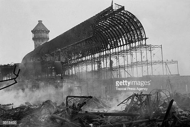 The wreckage left by the fire which destroyed Crystal Palace exhibition centre in London