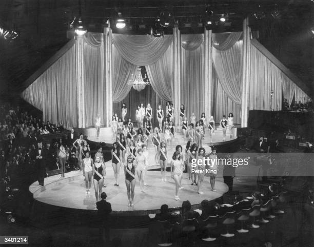 Contestants for the Miss World 1972 beauty contest appear together on stage in their swimwearThe eventual winner Miss Australia appears at the front...