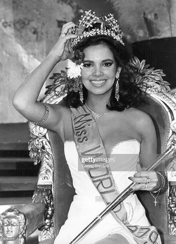 The new Miss World for 1979, Miss Venezuela - Tatlania Capote, wears the crown with pride. At one stage, however, she was wearing little else when she appeared on stage in a flimsy costume with a plunging neckline over her 35-23-35 figure, as she walked forward into the spotlight her costume fell apart, and she was left very much in a state of undress.