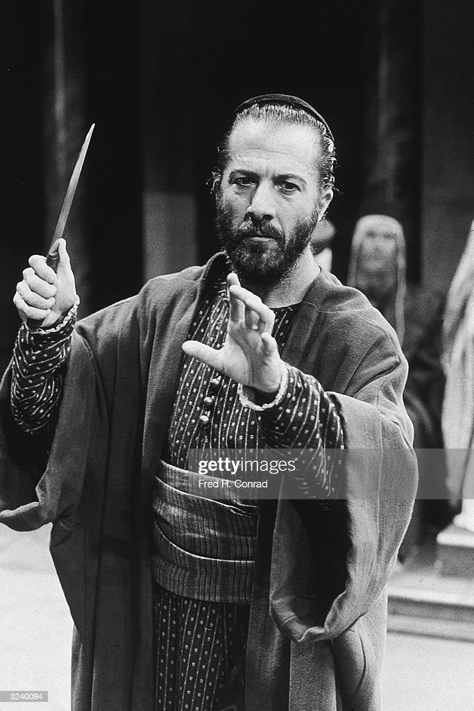American actor Dustin Hoffman in costume as Shylock for Sir <a gi-track='captionPersonalityLinkClicked' href=/galleries/search?phrase=Peter+Hall+-+Theater+Director&family=editorial&specificpeople=13450055 ng-click='$event.stopPropagation()'>Peter Hall</a>'s production of Shakespeare's play, 'The Merchant of Venice,' London, England.