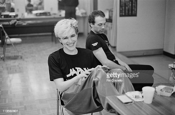 David Sylvian from the English band Japan relaxes backstage in Japan during their final tour in December 1982