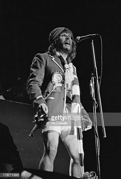 English comedian and musician Bill Oddie performs live on stage at the Rainbow Theatre in Finsbury Park London during a performance of the rock opera...