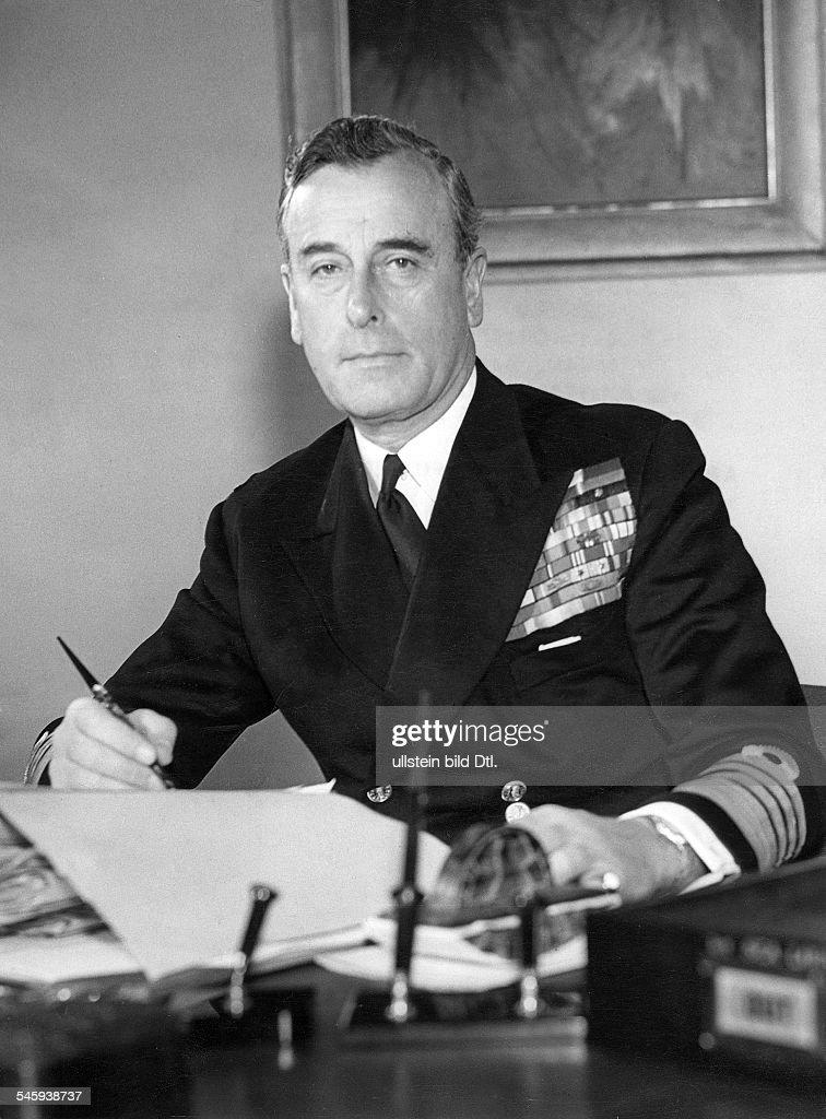 1st Earl Mountbatten of Burma * Admiral politician Great Britain portrait of the 1st Earl Mountbatten of Burma 1951