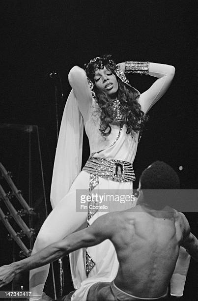 American singer Donna Summer performs live on stage at Radio City Music Hall in New York in February 1976